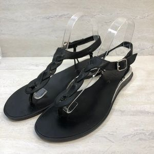 7FAM Black Braided T-Strap Sandal 8.5